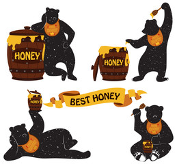 Set of silhouettes of a bear with a honey pot. Illustration on t