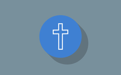 Vector cross religion symbol icon in circle with long shadow on flat background