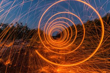 Light orange spring,Steel wool fire