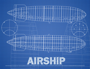 Airship illustration in blue print style.