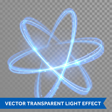 Vector blue neon crossed circles light trail