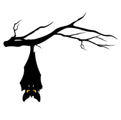 halloween bat on tree branch
