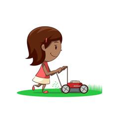 Little girl lawn mower