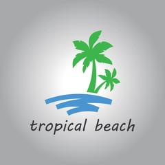 tropical beach and palm tree logo