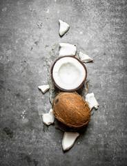 Fresh hard coconuts.