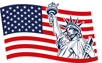 Statue of Liberty, USA,map, flag and symbol