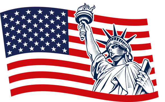 Statue of Liberty, USA,map, flag and symbol