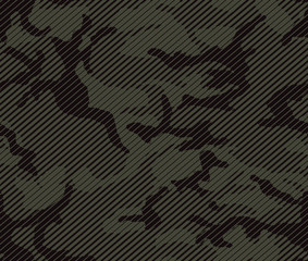 Halftone line camouflage repeat pattern in green