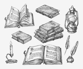 Hand-drawn vintage books. Sketch old school literature. Vector illustration