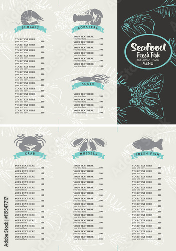 Booklet menu with price list for a seafood restaurant for Fish stocking prices