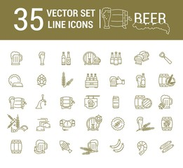 Vector set on the subject of beer and brewing in a linear design