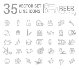 Vector set on the subject of beer and brewing in a linear design. The elements of brewing, the image of glasses and barrels of beer.