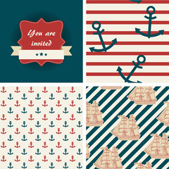 Seamless nautical patterns and invitation. Sea life theme