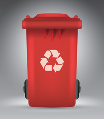 Trash bin on grey vector illustration template for advertising