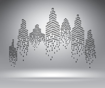 Binary city on grey vector illustration template for advertising