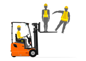 Counterbalance forklift truck lifting people on its fork. Flat vector