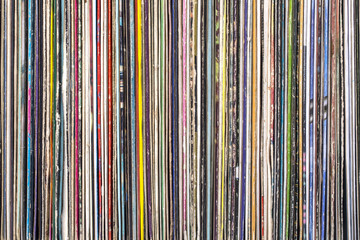 Stack of old vinyl records.