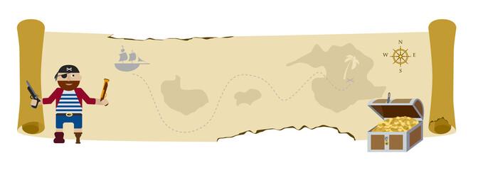 Treasure pirate map flat vector background