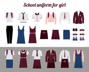 School uniform for girls flat vector illustration