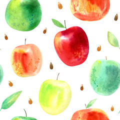 Seamless pattern with apple,leaves and seeds.Food picture.Watercolor hand drawn illustration.White background.