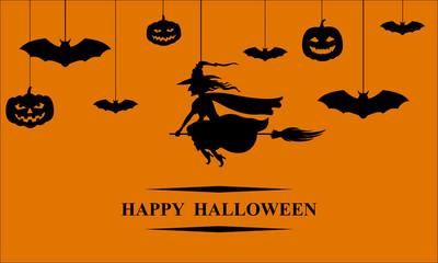 Halloween hang silhouette banner