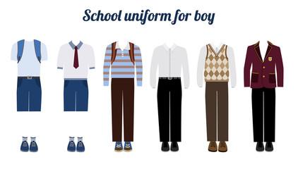 School uniform for boys flat vector illustration