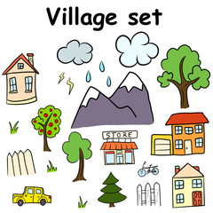 Village set of hand drawn pictures.