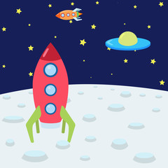 Color illustration with space, rockets, Moon and UFO. Made in cartoon style.
