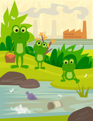 Pollution - Frogs on a picnic day, looking at a dirty river, with a view of a factory behind them. Eps10