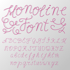 Hand written / monoline font / typeface made by one line / modern font / cursive letters