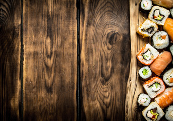 Sushi and rolls on the Board.
