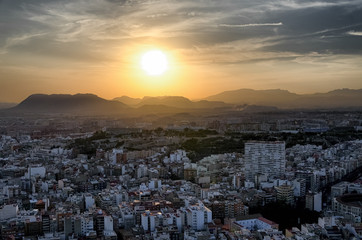 Sunset behind the mountains in Alicante, Spain
