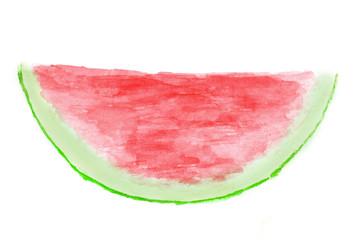 Watermelon in watercolor