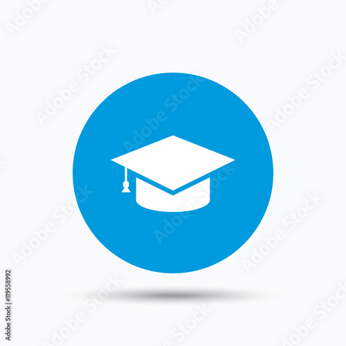 """Education icon. Graduation cap sign."" Stock image and ..."