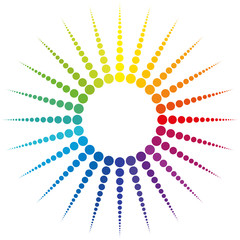 Sun rays - rainbow gradient colored dots on white background.