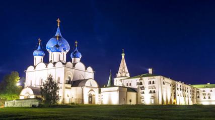 Kremlin in Suzdal night. gold ring of Russia
