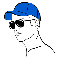 vector young man in blue cap and glasses isolated on white background. Summer fashion. Hand drawn editablesketch. Male model posing. Color of cap can be changed. Graphic clip art illustration