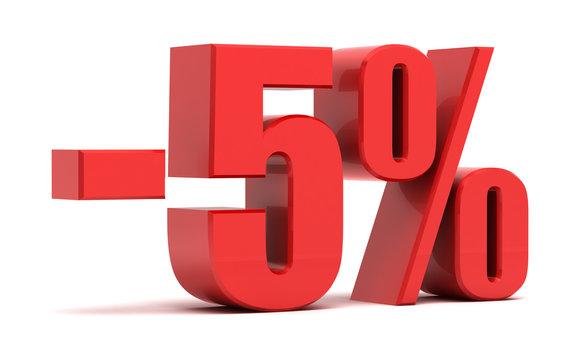5 percent discount 3d text