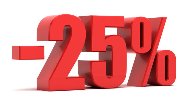 25 percent discount 3d text