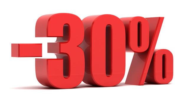 30 percent discount 3d text