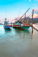 Fishing boats, Thailand, sunset