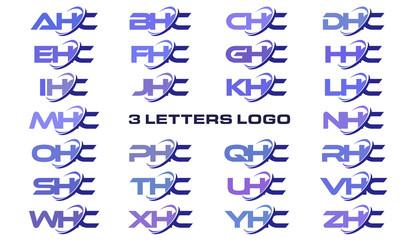 3 letters modern generic swoosh logo AHC, BHC, CHC, DHC, EHC, FHC, GHC, HHC, IHC, JHC, KHC, LHC, MHC, NHC, OHC, PHC, QHC, RHC, SHC, THC, UHC, VHC, WHC, XHC, YHC, ZHC