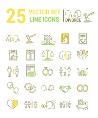 Vector set of icons in a linear design on the subject of divorce