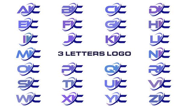 3 letters modern generic swoosh logo AIC, BIC, CIC, DIC, EIC, FIC, GIC, HIC, IIC, JIC, KIC, LIC, MIC, NIC, OIC, PIC, QIC, RIC, SIC, TIC, UIC, VIC, WIC, XIC, YIC, ZIC