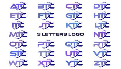 3 letters modern generic swoosh logo ATC, BTC, CTC, DTC, ETC, FTC, GTC, HTC, ITC, JTC, KTC, LTC, MTC, NTC, OTC, PTC, QTC, RTC, STC, TTC, UTC, VTC, WTC, XTC, YTC, ZTC