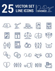Vector set of icons in linear design. Divorce and the legal proc