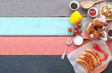Aluminium Prints Grill / Barbecue Barbecue meal background