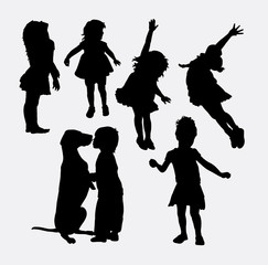 Kid playing activity silhouette. Good use for symbol, logo, web icon, mascot, sign, sticker design or any design you want.