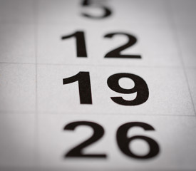 calendar nineteen number