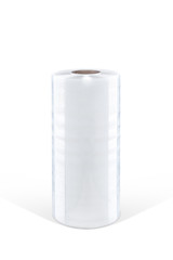 Roll of white plastic stretch film on white background